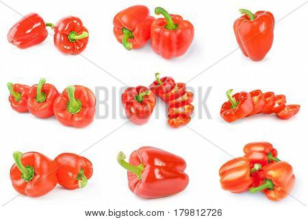 Group of bulgarian peppers isolated on a white background cutout