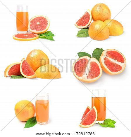 Collage of grapefruit isolated on a white background with clipping path
