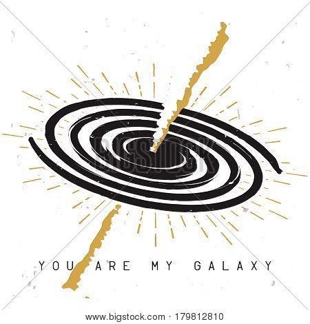 Spiral milky way galaxy sketch with gamma-ray burst and love themed phrase