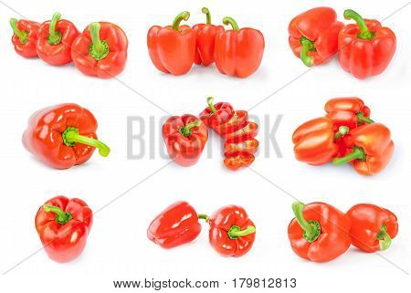 Collage of paprika isolated over a white background