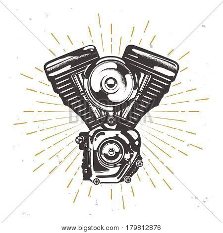 Vector custom garage logotype with chopper engine, motorbike engine illustration with sun burst