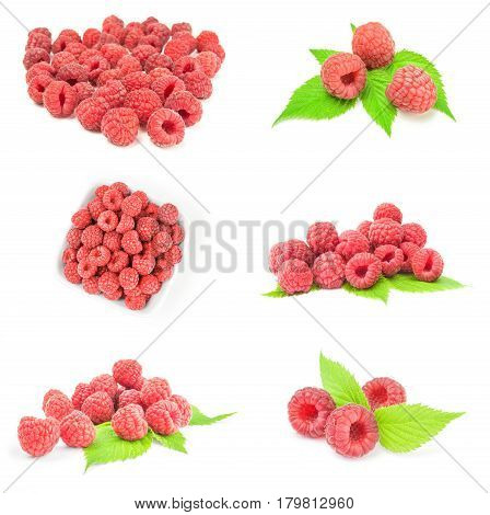 Collage of juicy raspberry isolated on a white cutout