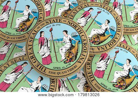 US State Buttons: Pile of North Carolina Seal Badges 3d illustration
