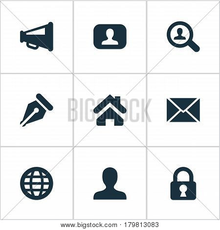 Vector Illustration Set Of Simple Job Icons. Elements World, Megaphone, Padlock And Other Synonyms Loudspeaker, Nib And Padlock.