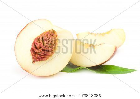Juicy ripe peaches isolated on a white background cutout