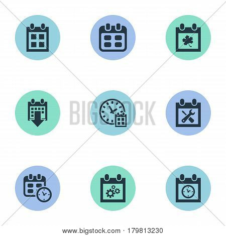 Vector Illustration Set Of Simple Calendar Icons. Elements Almanac, Planner, Leaf And Other Synonyms Reminder, Repair And Time.
