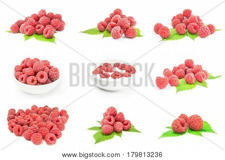 Set of juicy raspberry on a white background