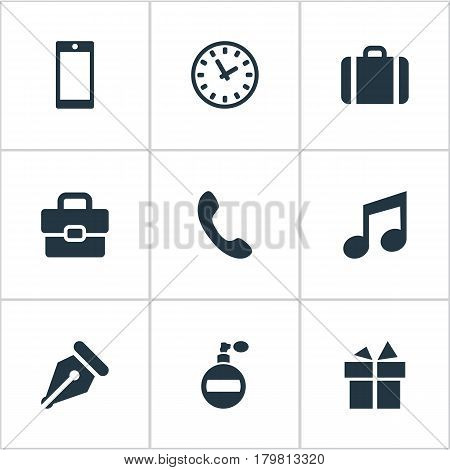 Vector Illustration Set Of Simple Instrument Icons. Elements Time, Fragrance, Call Button And Other Synonyms Deodorant, Giveaways And Telephone.