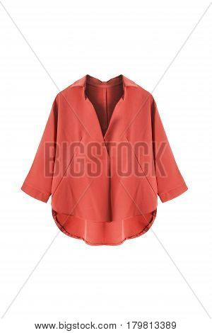Terracotta silk oversize blouse on white background