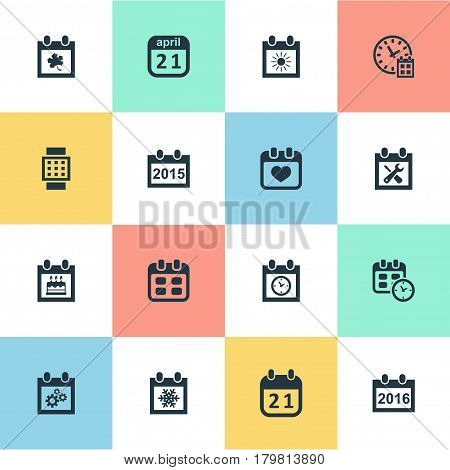 Vector Illustration Set Of Simple Calendar Icons. Elements Annual, Planner, Heart And Other Synonyms Wheel, Calendar And Day.