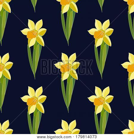 Vector Yellow daffodil flowers on the dark background. Seamless floral pattern with narcissus flowers. Fashion style for print, silk textile, cushion, pillow, kerchief. Texture for clothes bedclothes