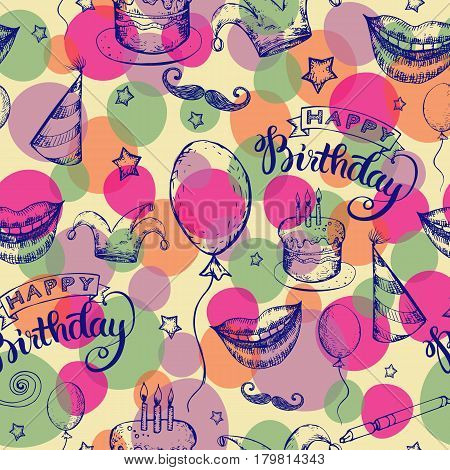 Seamless Happy Birthday holiday background with wishful modern lettering on it