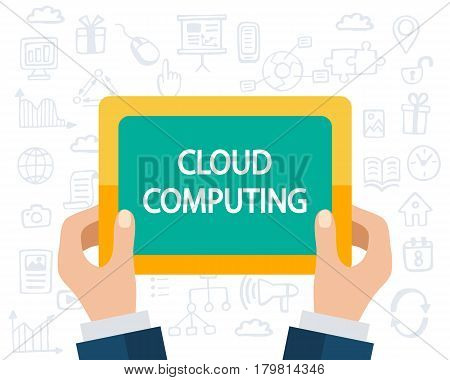 Cloud Computing concept. Software, Web, Mobile apps development. Flat style and doodle icons in background, vector illustration.