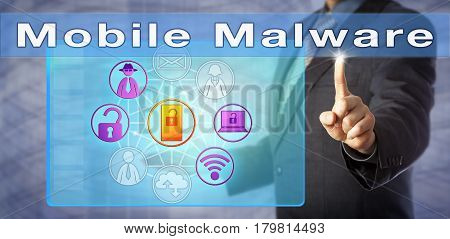 Blue chip security expert is presenting on Mobile Malware. Information technology metaphor and computer security concept for malicious software attacking mobile and smart devices and networks.