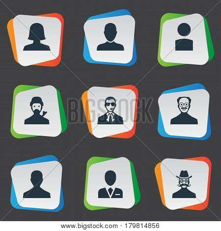 Vector Illustration Set Of Simple Human Icons. Elements Male User, Moustache Man, Job Man And Other Synonyms Mysterious, Man And User.
