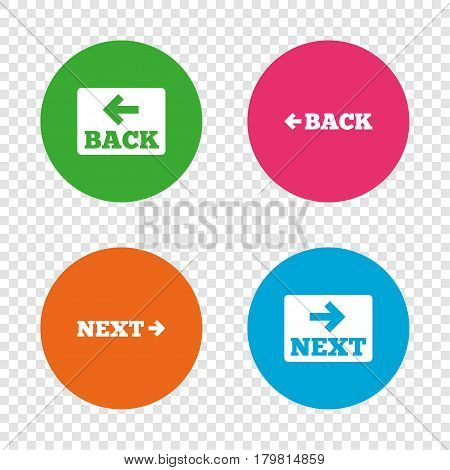 Back and next navigation signs. Arrow direction icons. Round buttons on transparent background. Vector