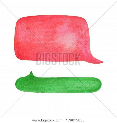 Watercolor speech bubble on white background. Vibrant green and red text bubble cloud hand-drawn element. Isolated bubble clipart. Conversation or dialogue illustration. Hand-painted comic drawing