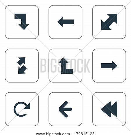 Vector Illustration Set Of Simple Indicator Icons. Elements Left Direction, Circular, Left Direction And Other Synonyms Reload, Direction And Upwards.