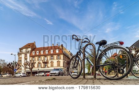 Editorial: 1St April 2017: Strasbourg, France. Bicycles On The Street