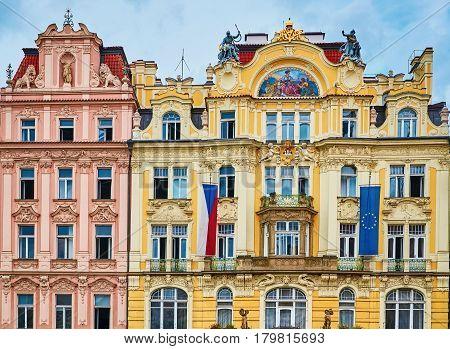 Facades of an Old Buildings in Prague Czech Republik