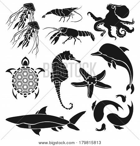 Black silhouettes of various sea creatures. Shrimp cancer jellyfish seahorse fish and other creatures isolated on white background. Vector illustration.