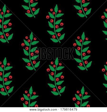 Seamless embroidery imitation pattern with red berry and green leaf. Embroidery vector background with ash berry for printing on fabric paper for scrapbook gift wrap.