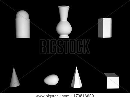 Plaster forms of figures on a black background - the contrast of shapes objects isolated. Abstract visual gypsum exhibits for art.