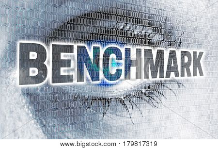 Benchmark eye with matrix looks at viewer concept.
