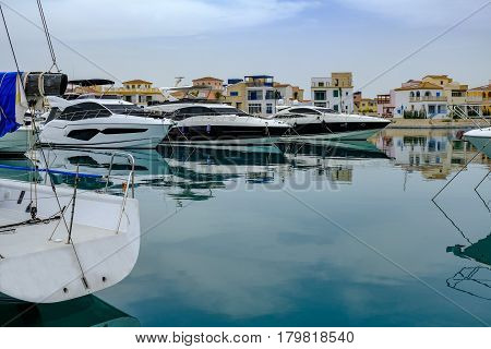 Speed boats moored at Limassol's new marina.  Luxurious setting in a modern marina.