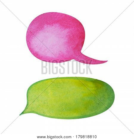 Watercolor speech bubble on white background. Pink and bright green text bubble cloud hand-drawn element. Isolated bubble clipart. Conversation or dialogue illustration. Hand-painted comic text cloud