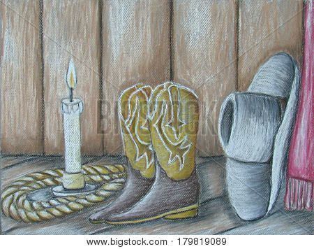still life cowboy boots with hat and boots