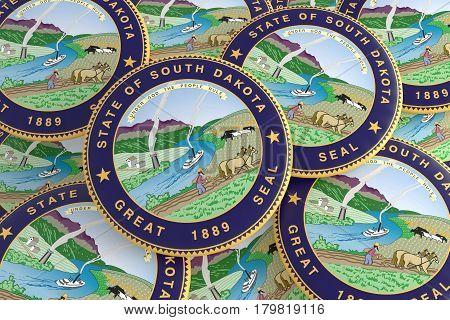 US State Buttons: Pile of South Dakota Seal Badges 3d illustration