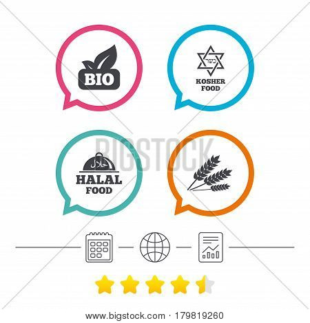 Natural Bio food icons. Halal and Kosher signs. Gluten free and star of David symbols. Calendar, internet globe and report linear icons. Star vote ranking. Vector