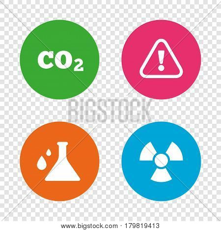 Attention and radiation icons. Chemistry flask sign. CO2 carbon dioxide symbol. Round buttons on transparent background. Vector