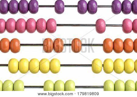 Close up abacus isolated on white background
