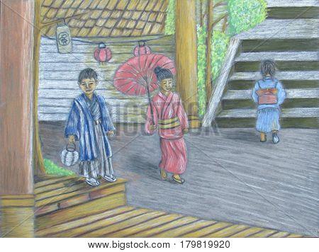 New year day celebration with kimono and lanterns pastels