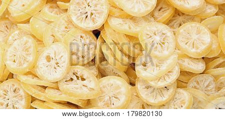 Background Of Slices Of Dried Lemons
