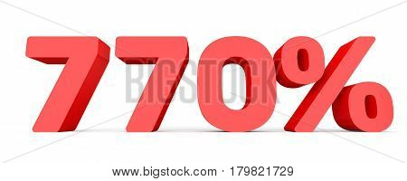 Seven Hundred And Seventy Percent. 770 %. 3D Illustration.