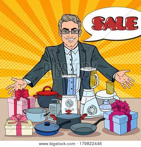 Smiling Seller with Household Appliances. Domestic Equipment Shopping. Pop Art vector illustration