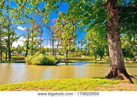 Lake Park In Town Of Jastrebarsko, Green Nature Of Northern Croatia