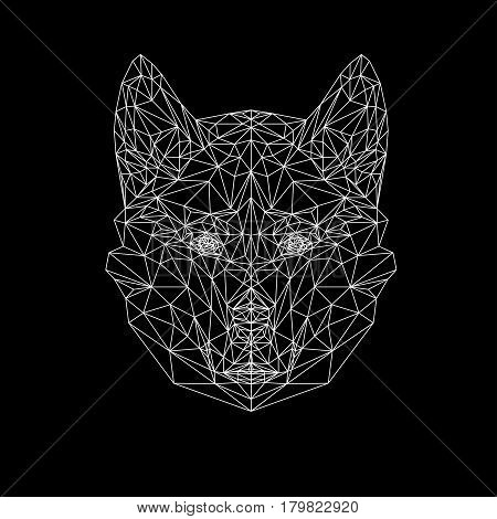 Vector wolf thin line style. Wolf low poly design illustration. Abstract mammal animal. Dog face silhouette for printing on t shirts.