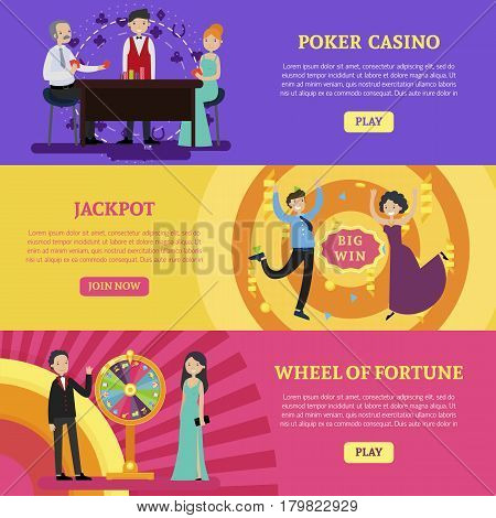 Colorful casino horizontal banners with people playing cards turning fortune wheel and happy jackpot winners vector illustration
