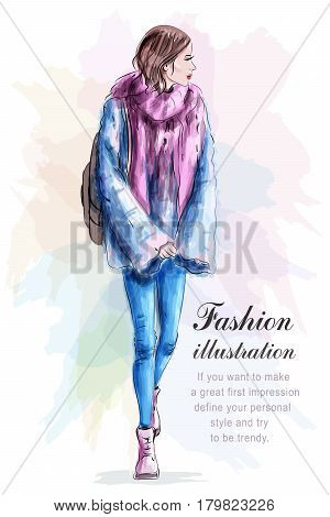 Stylish woman in fashion clothes with backpack and scarf. Sketch. Vector illustration.
