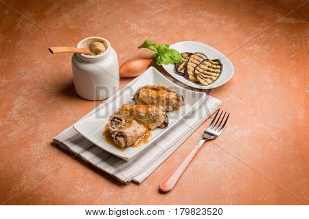 meat roulades stuffed with eggplants  mustard and basil