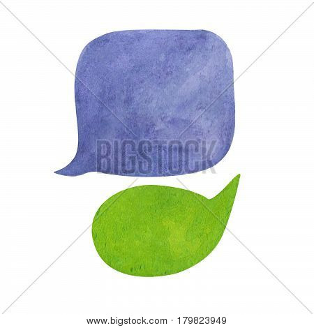 Watercolor speech bubble on white background. Purple blue and green text bubble cloud hand-drawn element. Isolated bubble clipart. Conversation or dialogue illustration. Hand-painted comic text cloud poster