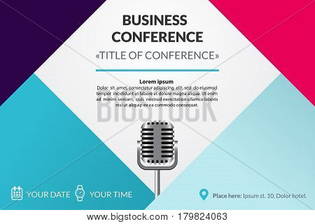 Business conference invitation concept. Colorful simple geometric background. Retro microphone. Template for banner, poster, flyer, magazine page.