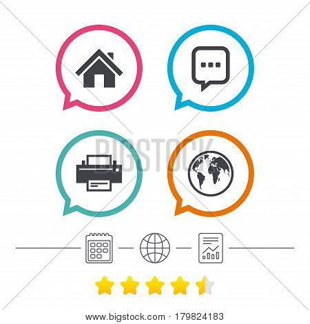 Home main page and globe icons. Printer and chat speech bubble with suspension points sign symbols. Calendar, internet globe and report linear icons. Star vote ranking. Vector