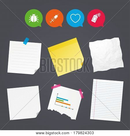 Business paper banners with notes. Bug and vaccine syringe injection icons. Heart and spray can sign symbols. Sticky colorful tape. Speech bubbles with icons. Vector