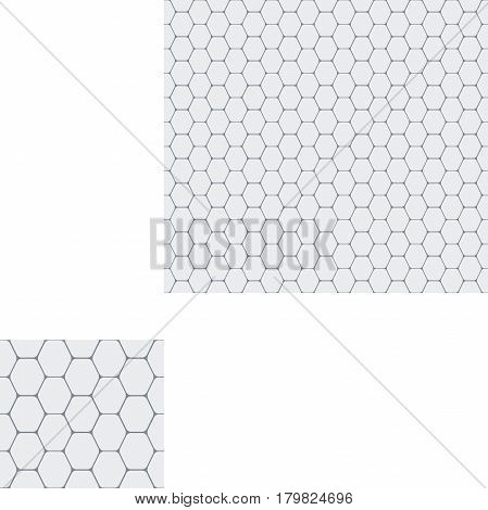 Abstract seamless geometric pattern of light gray hexagons.