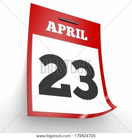 April 23. Calendar On White Background.
